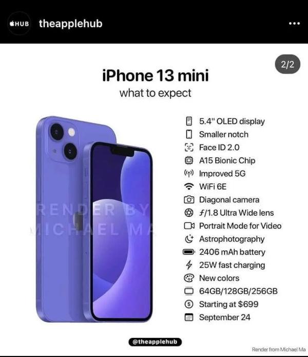 iPhone 13 mini specs revealed