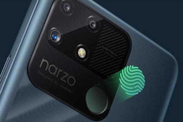 realme narzo 50A cameras and fingerprint