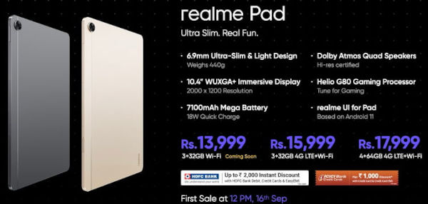 realme pad price and color options