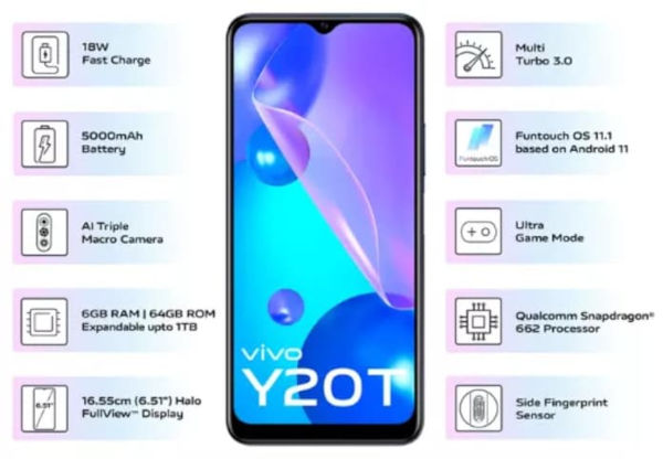 vivo Y20T specs and features